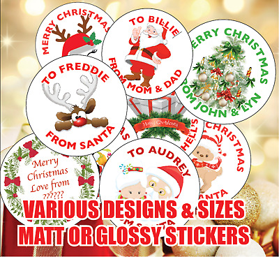 Personalised Christmas Stickers Labels Gift Tags Parcel Presents From Santa 1030