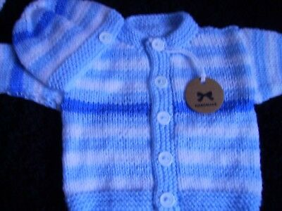 WOW LOOK lovely new hand knitted striped cardigan + hat set  (NEWBORN)