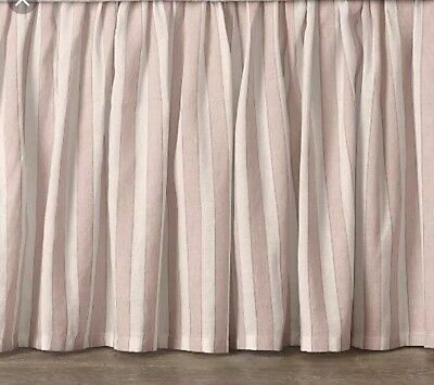 restoration hardware baby crib Skirt Toddler Bed Antique Stripe Pink Pleated