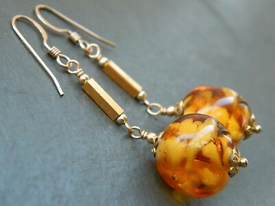 Art Deco MURANO Amber Sommerso Aventurine Glass & Rolled Gold & Vermeil Earrings