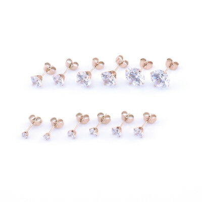 Round Rose Gold CZ CLEAR CRYSTAL EAR STUDS Earrings 3mm-10mm 2pcs