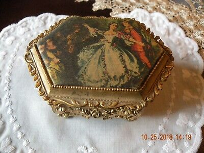 Vintage Ornate Edwardian Cast Metal and Fabric Jewelry Casket