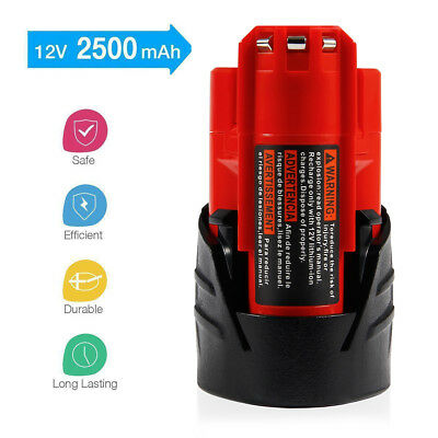 12V 2500mAh M12 Replacement Li-ion Battery for Milwaukee 48-11-2401 48-11-2411