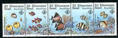 Seychelles 1987 Tropical Fish Stamps - Mint Complete Set Of 5 - $9.50 Value!