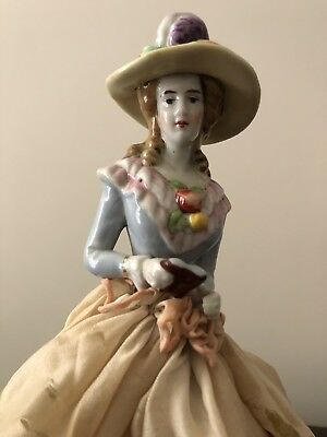Gorgeous Antique Half Doll Lamp With A Book