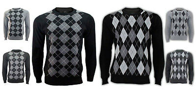 New Mens Diamond Style Long Sleeve Crew Neck Pullover Jumper Sweater Top 858065194