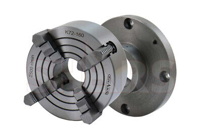 """6"""" 4 Jaw Independent Lathe Chuck + 2-1/4""""-8 Back Plate New"""