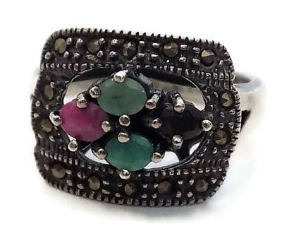 """BYZANTINE SILVER STYLE RING #5 with FOUR PRECIOUS STONES 11/16"""" OPENING"""