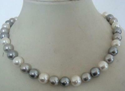 """beautiful AAA+ 9-10mm tahitian white grey color pearl necklace 20"""" 14K yellow  !"""