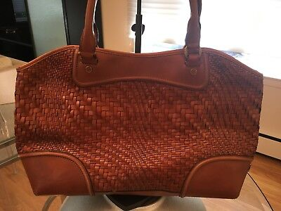 dd3834d794e4 COLE HAAN GENEVIEVE Woven Saddle Brown Leather Organizer tote Bag Shopper  Purse