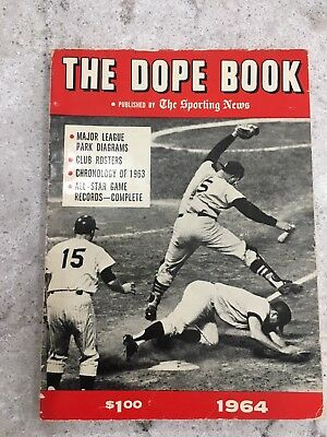 1964 The Sporting News Baseball Dope Book – Home Plate Slide  On Cover.