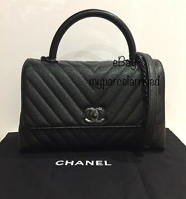 23f123b18406 NWT CHANEL 2018 Coco Top Handle All Black Caviar Chevron Flap Bag Small  Size 18A
