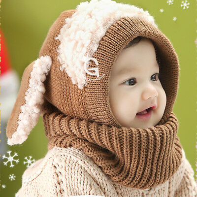 Toddler Infant Boys Girls Baby Kids Winter Warm Hat Coif Hood Woolen Cap Scarf