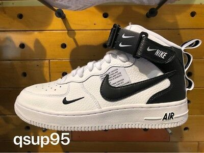 big sale 763e0 97dbd Nike Air Force 1 One Mid LV8 Utility White Tour Yellow Black AV3803-100 Sz