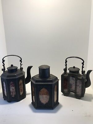 Antique Chinese Teapot And Tea Caddy set