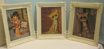 3 Old Pitiful Stray Cat Prints in Plastic Frames Signed Lee  Pittsburgh Statuary