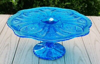 Vintage Imperial Glass IG Blue Pedestal Cake Stand Plate Daisy Button Pattern