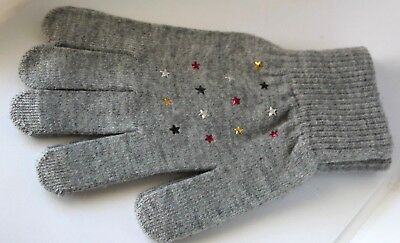 Nordstrom TopShop Knitted Star Gloves Gray Soft Knit OS Colorful Star $39 NEW