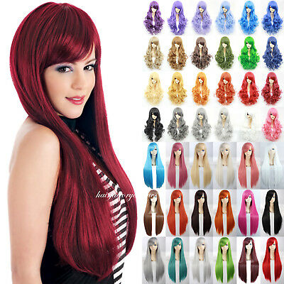 Fashion Women Long Hair Full Natural Curly Wavy Straight Synthetic Hair Wigs #Uk