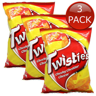 3 x TWISTIES CHEEKY CHEDDAR CHEESE SNACK CHIPS TASTY BARBEQUE CORN CHIPS 160g