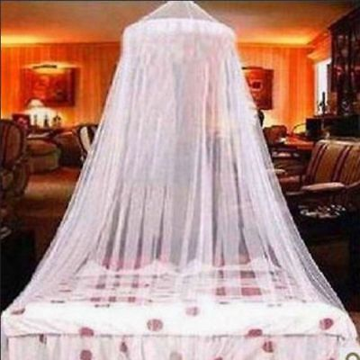 US Elegant Lace Bed Mosquito Netting Mesh Canopy Princess Round Net Dome Bedding
