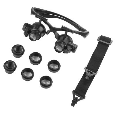 Double Eye Glasses Magnifier Watch Repair Loupe With LED Light 8 Lens TE1024