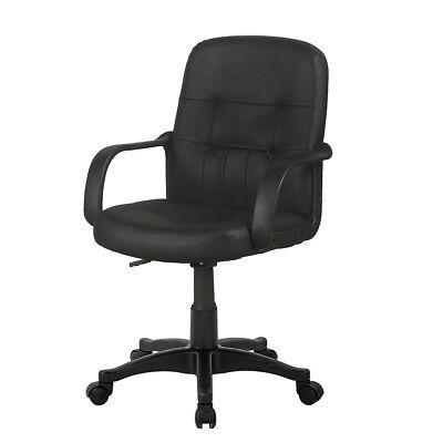 Small Swivel Task Chair Padded Leather Adjustable Lift Workstation Office Chair