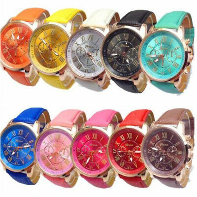 Numerals Women Wristwatches Analog Quartz Lady Faux Leather Girls Wrist Watch