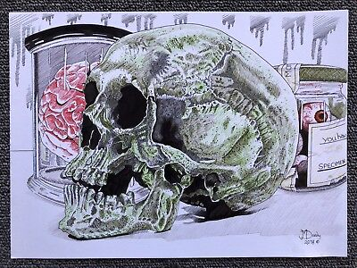 Gothic Horror Green Skull A4 Pen & ink Signed Original Art Painting Drawing