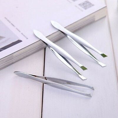 5Pcs Stainless Steel Professional Eyebrow Hair Removal Tweezer Flat Tip Tool