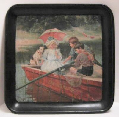 Beautiful Antique Tin Litho SELTZER WATER Advertising Tray Kids Dog in Boat 1908