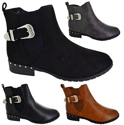 Ladies Womens Low Heel Ankle Chelsea Stud Buckle Biker Dealer Shoes Boots Size