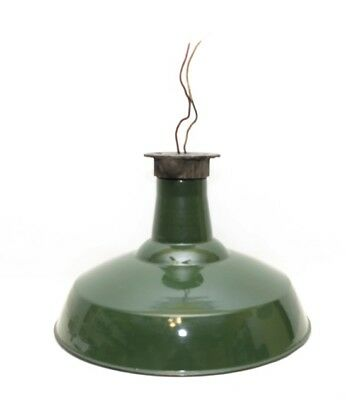 Vintage Antique Green Porcelain Enamel Barn Chop Ceiling Light Original 16 inch