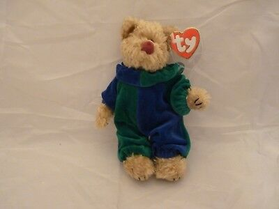 1993 Ty Attic Treasures Beanie Babies PICCADILLY Bear Blue Green Clown Suit  (8