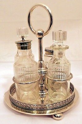 A Victorian silver-plated 4-bottle cruet set, Sheffield c.1870.