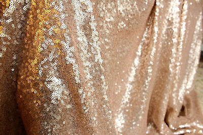 Glitter Sequin Fabric Material 3mm Sequins 2W Stretch -130cm wide CHAMPAGNE GOLD