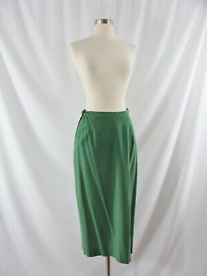 Vintage Forties 40s Green Wool Long Pencil A-line Skirt Small AS IS