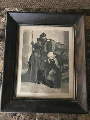 """Beautiful German WW1 Framed Print-"""" Summoned To The War""""-Goodbye to Wife & Child"""