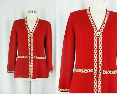 St John Collection Marie Gray Size 6 Red Zip Front Knit Jacket Chain Design