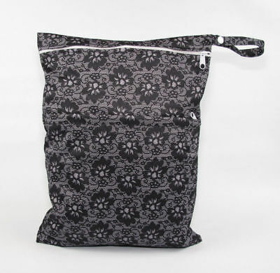 Large Cloth Mama Wet Bag for Nappies, Wipes, Cloth Sanitary Pads - Black Lace