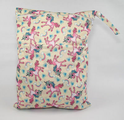 Large Cloth Mama Wet Bag for Nappies, Wipes, Cloth Sanitary Pads, CSP - Unicorns