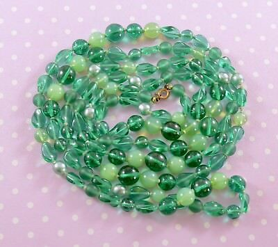 Vintage Art Deco very long hand knotted flapper Necklace green glass beads 150cm