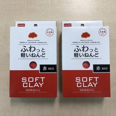 2 set DAISO Soft Lightweight Clay  Red made in Japan Arcilla Suave F/S