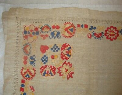 Hand Woven Embroidered Linen Eastern Europe Table Cloth Tablecloth c 1880-1920s