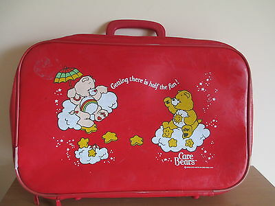 CARE BEARS Vintage 1983 Red Vinyl Printed Zippered Suitcase Bag Luggage Tote