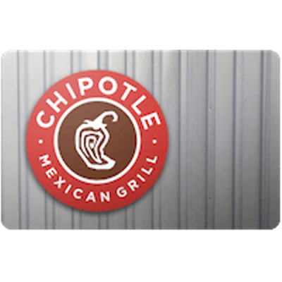 Chipotle Gift Card $10 Value, Only $9.50! Free Shipping!