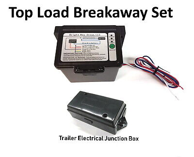 Trailer Breakaway Kit Top Load Battery + Coiled 0Breakaway Cable + Junction Box