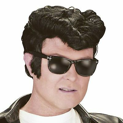 Mens Black Greaser Danny Teddy Boy Elvis Wig 50's Fancy Dress