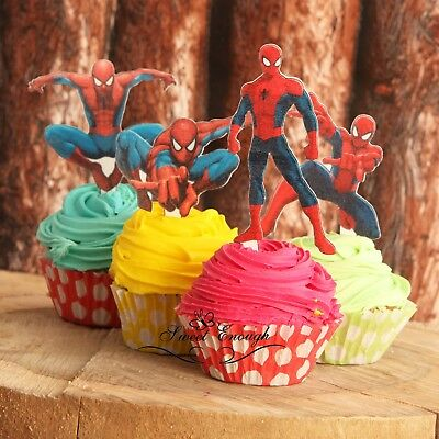 6 Stand Up PRECUT Spiderman Figures Edible Rice card paper Cupcake cake Toppers
