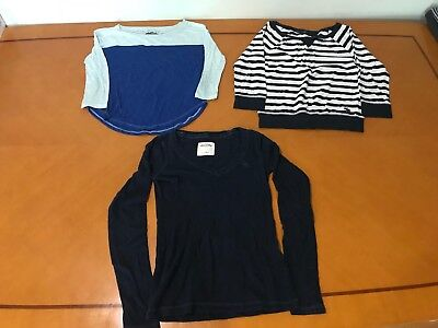 Lot of 3 Girls Kids Abercrombie & Fitch Blue Navy Long Sleeve Shirts Size M 7-8